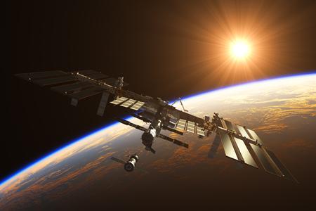 orbital station: International Space Station On The Background Of Rising Sun. 3D Illustration.