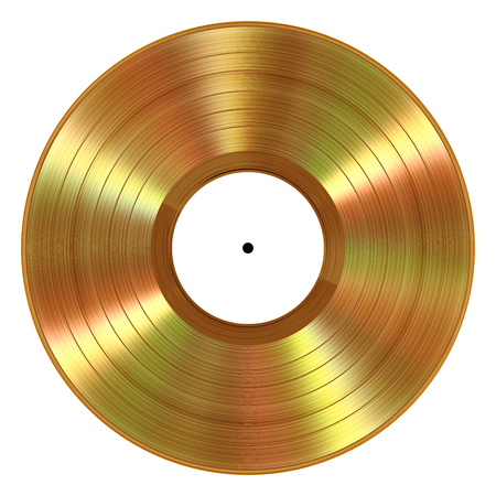 Disque vinyle en or réaliste sur fond blanc Banque d'images - 80986655