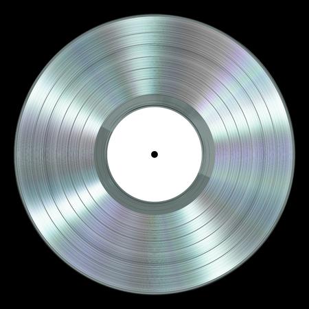 Realistische Platinum Vinyl Record Op Zwarte Achtergrond Stockfoto