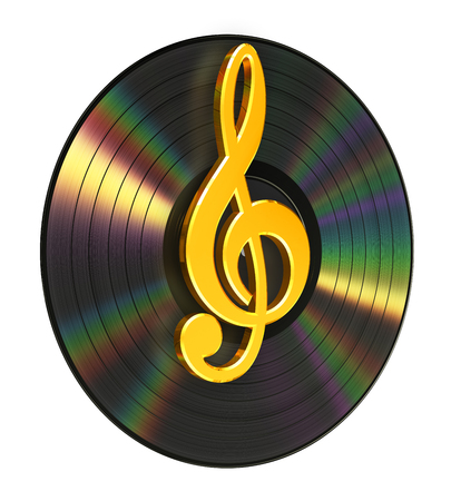 Treble Clef Over The Vinyl Banque d'images - 80986602