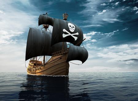 Navio pirata em alto mar Foto de archivo