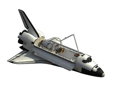 白い背景の上のスペースシャトル オービター