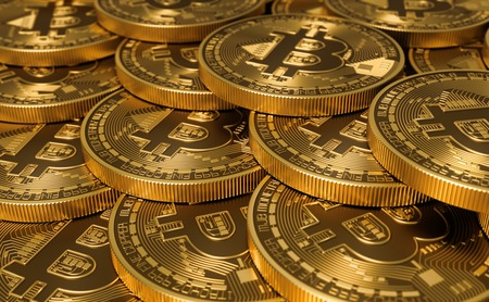 electronic commerce: Golden Virtual Currency Coins Bitcoins