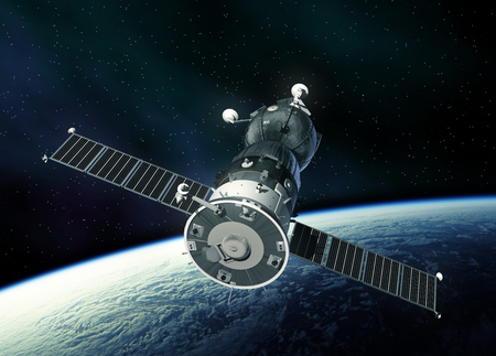 orbital station: Spacecraft In Outer Space.