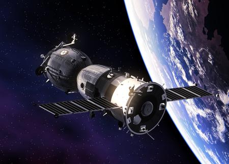 Spazio spaziale russo che orbita la Terra Archivio Fotografico - 77817121