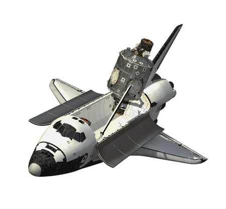 Space Shuttle And Module Of Space Station