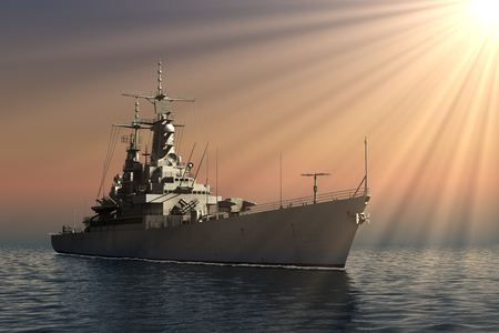Modern Warship In Rays Of The Sun Stock Photo