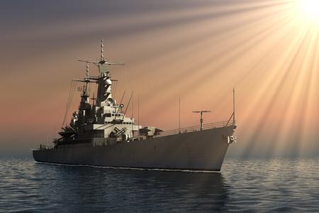 Navire de guerre moderne dans les rayons du soleil Banque d'images