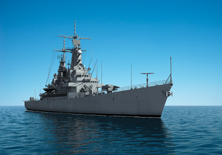 Modern Warship In The High Seas Stock Photo