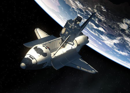 challenger: Space Shuttle And Module Of International Space Station Stock Photo