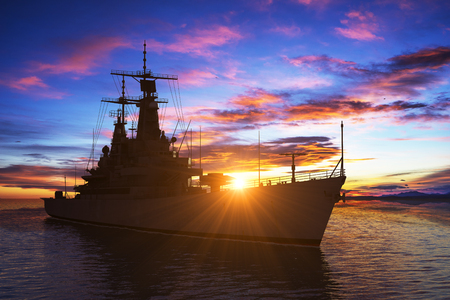 Modern Warship On The Background Of Sunset