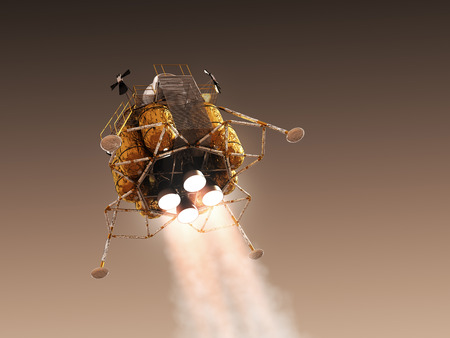 Mars Lander In The Atmosphere Of The Red Planet