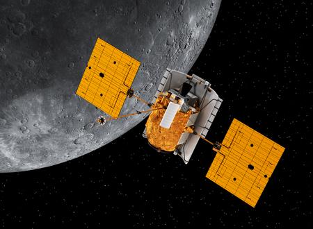 space station: Interplanetary Space Station Orbiting Planet Mercury Stock Photo