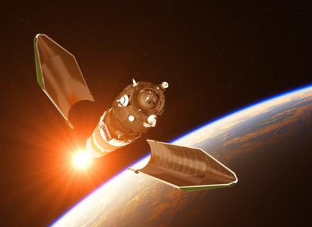 ライジングサンの背景に貨物宇宙船の打ち上げ