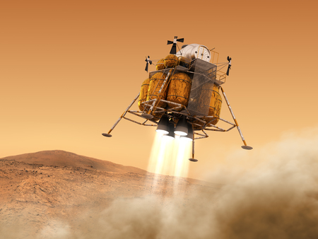 Descent Module Of Interplanetary Space Station Landing on Planet Mars Stock Photo