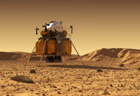 cev: Descent Module Of Interplanetary Space Station On Surface Of Planet Mars