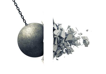 Metalen slopen bal verpletterende muur Stockfoto