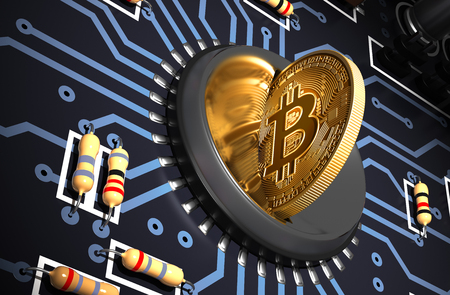 Putting Bitcoin Into Coin Slot And Creating Heart Shape With Reflection