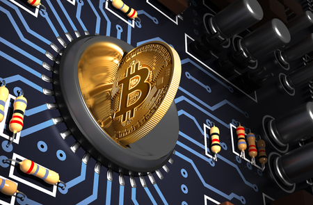 Putting Bitcoin Into Coin Slot On Blue Motherboard And Creating Heart Shape With Reflection Stock Photo