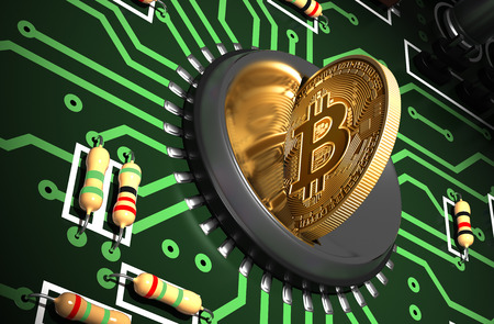 Putting Bitcoin Into Coin Slot On Green Motherboard And Creating Heart Shape With Reflection Stock Photo