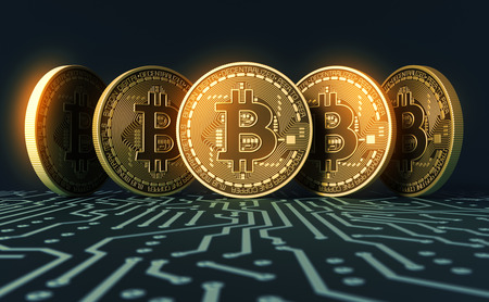 Pět virtuálních mincí Bitcoins na modré desky tištěných obvodů Reklamní fotografie
