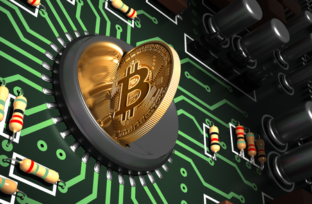 electronic commerce: Putting Bitcoin Into Coin Slot On Green Motherboard And Creating Heart Shape With Reflection Stock Photo