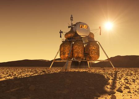 Modulo di discesa della stazione spaziale interplanetaria sullo sfondo del sole marziano Archivio Fotografico - 83633807