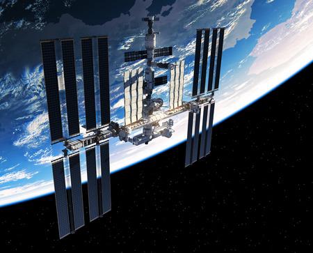 Stazione Spaziale Internazionale orbita pianeta Terra Archivio Fotografico - 82565250