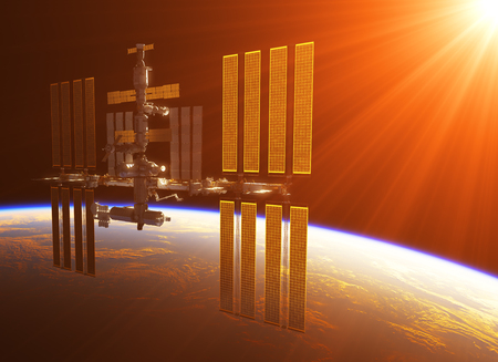 space station: Space Station In The Rays Of Sun