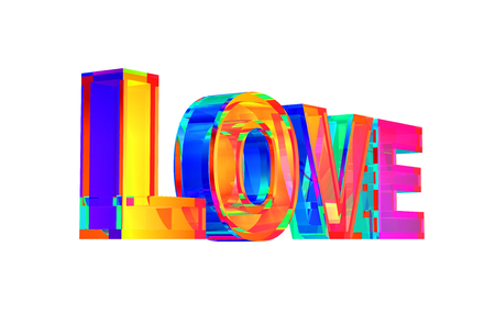 Multicolor Love Word On White Background Stock Photo