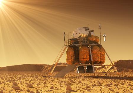 Modulo di discesa della stazione spaziale interplanetaria nei raggi del sole marziano Archivio Fotografico - 82568028