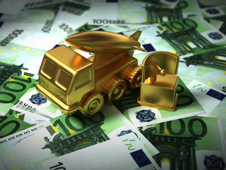 Gold Missile System And Radar On The Euro Money