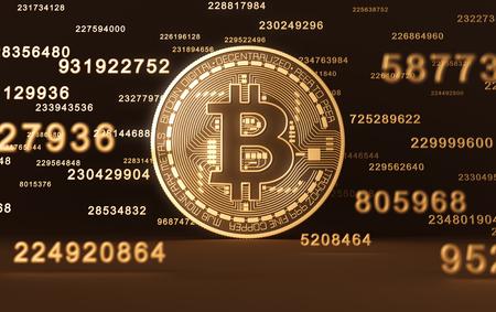 Virtuele munt Bitcoin en cijfers Stockfoto