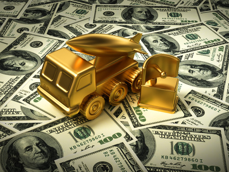 Gold Missile System And Radar On American Dollars Stock Photo