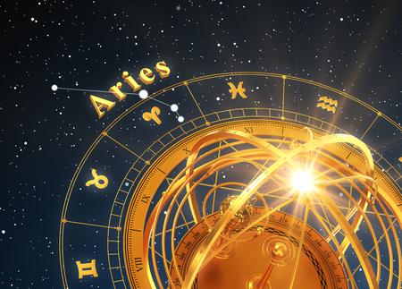 Zodiac Sign Aries En Armillaire Sphere Op Blauwe Achtergrond