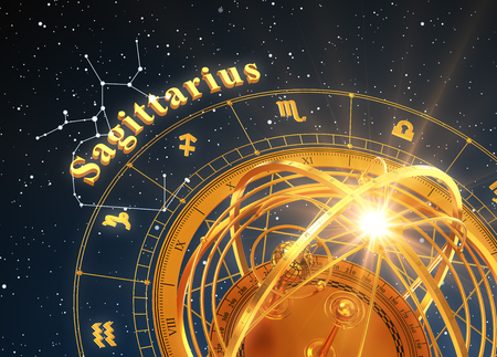 astral: Zodiac Sign Sagittarius And Armillary Sphere On Blue Background