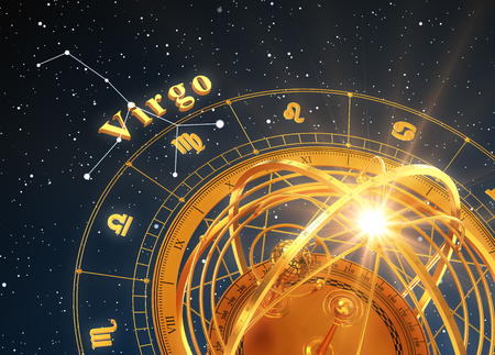 Zodiac Sign Virgo And Armillary Sphere On Blue Background Stok Fotoğraf