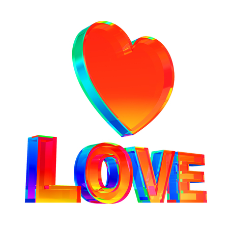 Multicolor Love Word And Heart Shape On White Background Stok Fotoğraf