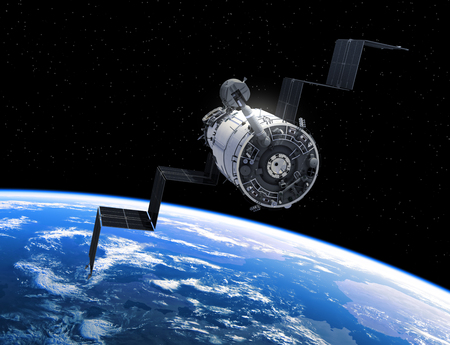 Flight Of Space Station In Outer Space. 3D Illustration. Stock Photo