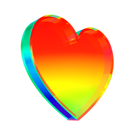 Multicolor Glass Heart On White Background. 3D Illustration. Stok Fotoğraf