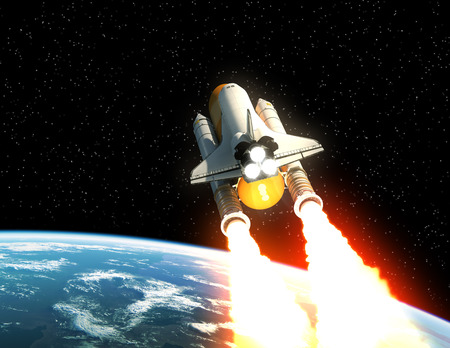 Space Shuttle Launch Above The Planet Earth. 3D Illustration.