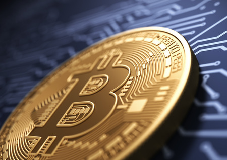 electronic commerce: Virtual Coin Bitcoin On Background Of Blue Printed Circuit Board