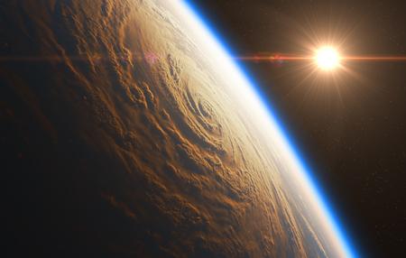 Sunrise On The Background Of Hurricane. 3D Illustration. Stock Photo