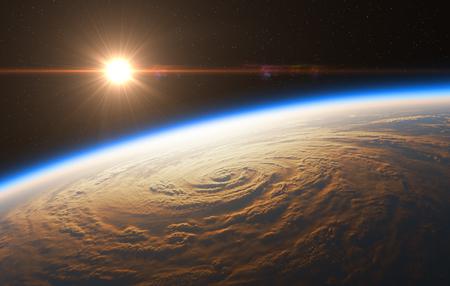 ハリケーンの背景に美しい日の出。3 D イラスト。 写真素材
