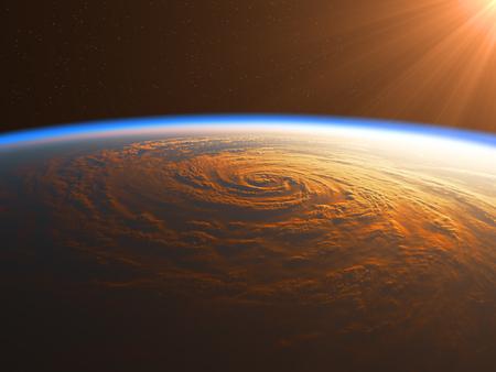 Hurricane in The Rays Of Sun. 3D Illustration. Stock Photo