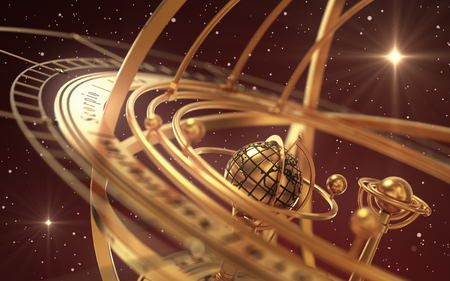 Esfera armilar y estrellas sobre fondo rojo Foto de archivo - 87720400