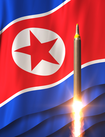 Rocket On The Background Of North Korean Flag