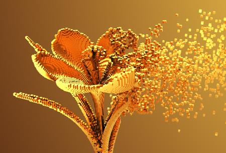 Gold Digital Flower Disintegrates To 3D Pixels. 3D Illustration.