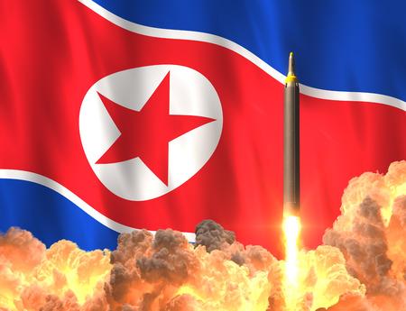 韓国北朝鮮の旗の背景にロケット打ち上げ