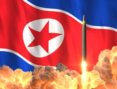 Rocket Launch On The Background Of North Korean Flag Stock Photo